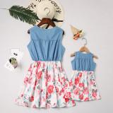 Mommy and Me Blue Denim Flower Family Matching Sleeveless Dresses