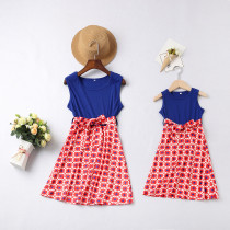 Mommy and Me Geometric Family Matching Blue A-line Dress