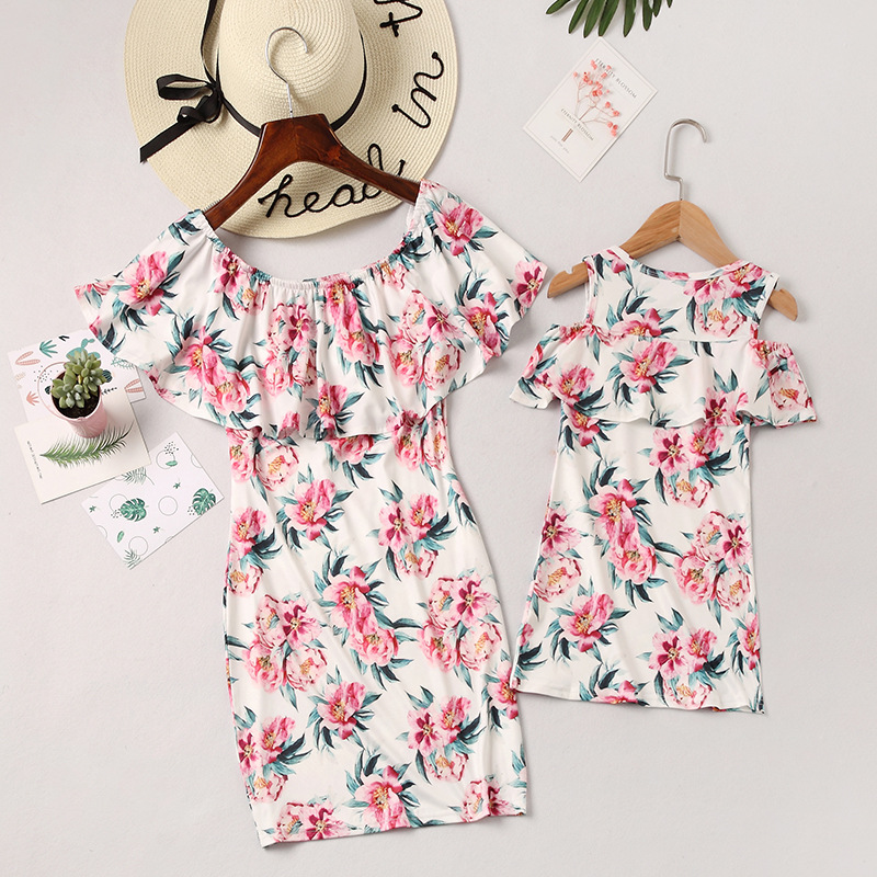 Mommy and Me Family Matching Off The Shoulder Flowers Dresses
