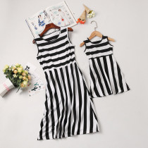 Mommy and Me Black Stripes Family Matching Sleeveless Casual Dress