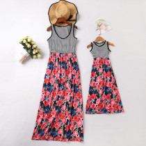Mommy and Me Black Stripes Red Flowers Family Matching Maxi Dress