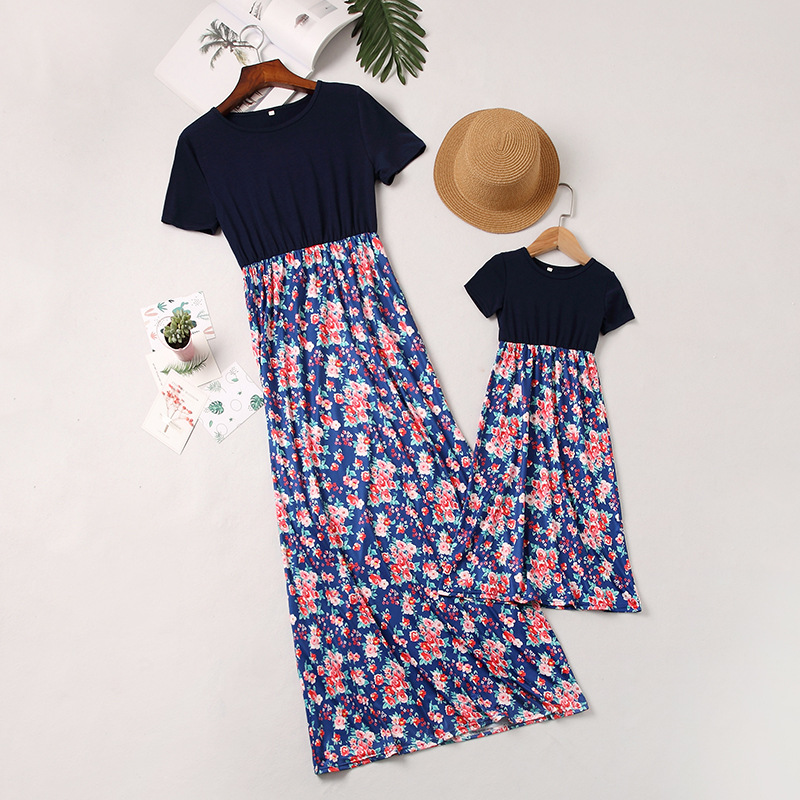 Mommy and Me Navy Flowers Family Matching Maxi Dresses