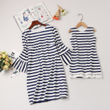 Mommy and Me Navy Stripes Family Matching Dresses