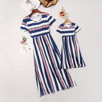 Mommy and Me Navy Stripes Family Matching Maxi Dresses