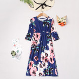 Mommy and Me Family Matching Long Sleeves Flowers Maxi Dresses