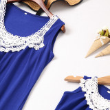Mommy and Me Lace Flowers Family Matching Blue Dresses