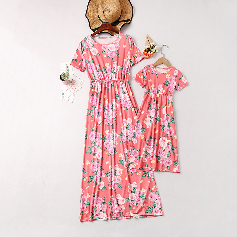 Mommy and Me Pink Flowers Family Matching Maxi Dresses
