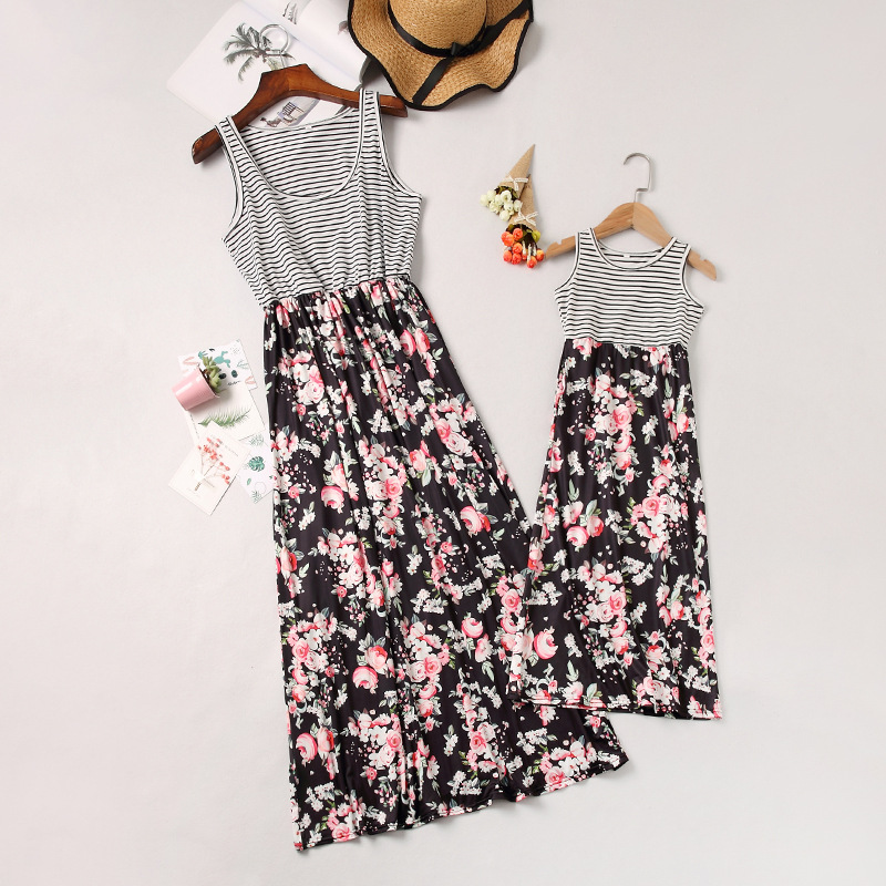 Mommy and Me Black Stripes Family Matching Flowers Sleeveless Dresses