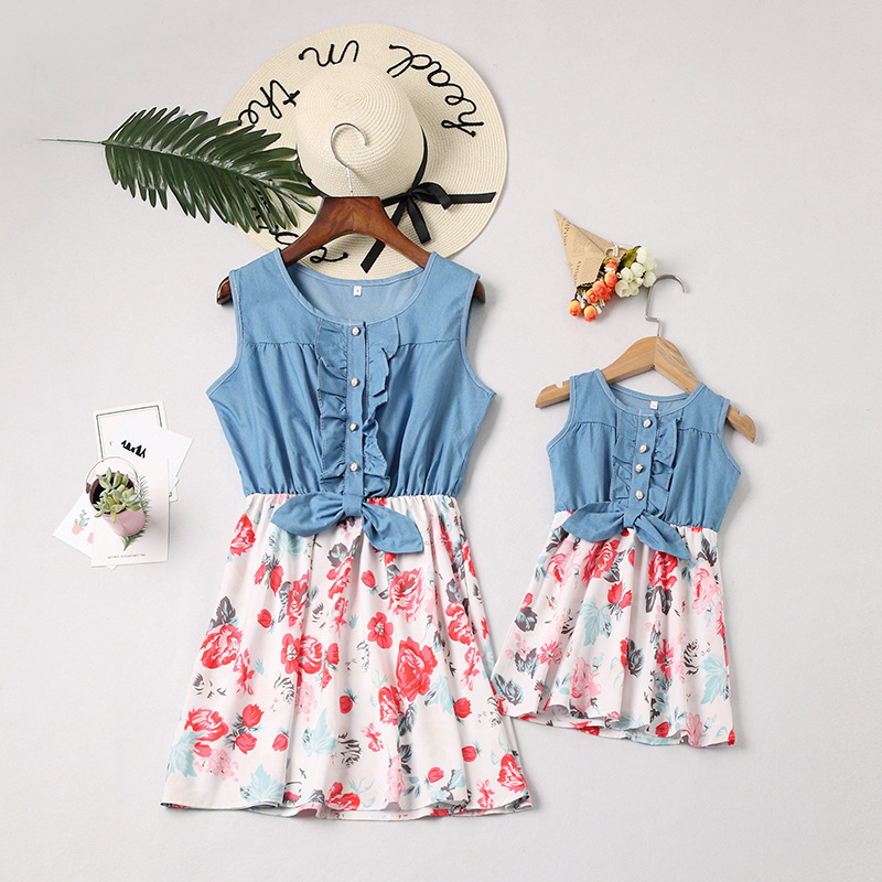 Mommy and Me Blue Denim Flower Family Matching Sleeveless Dresses