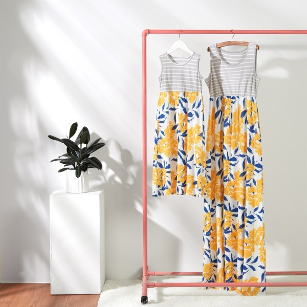 Mommy and Me Grey Stripes Yellow Flowers Family Matching Maxi Dresses