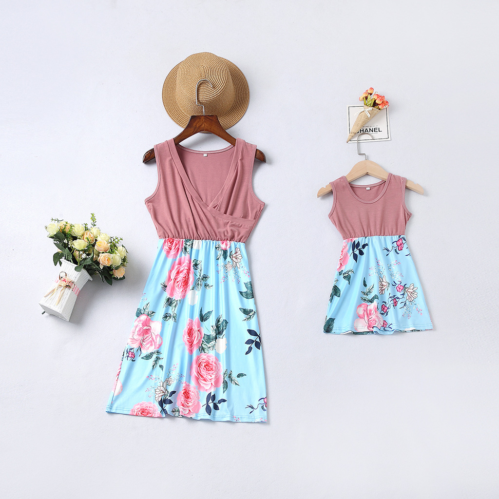 Mommy and Me Pink Flowers Family Matching Sleeveless Dress