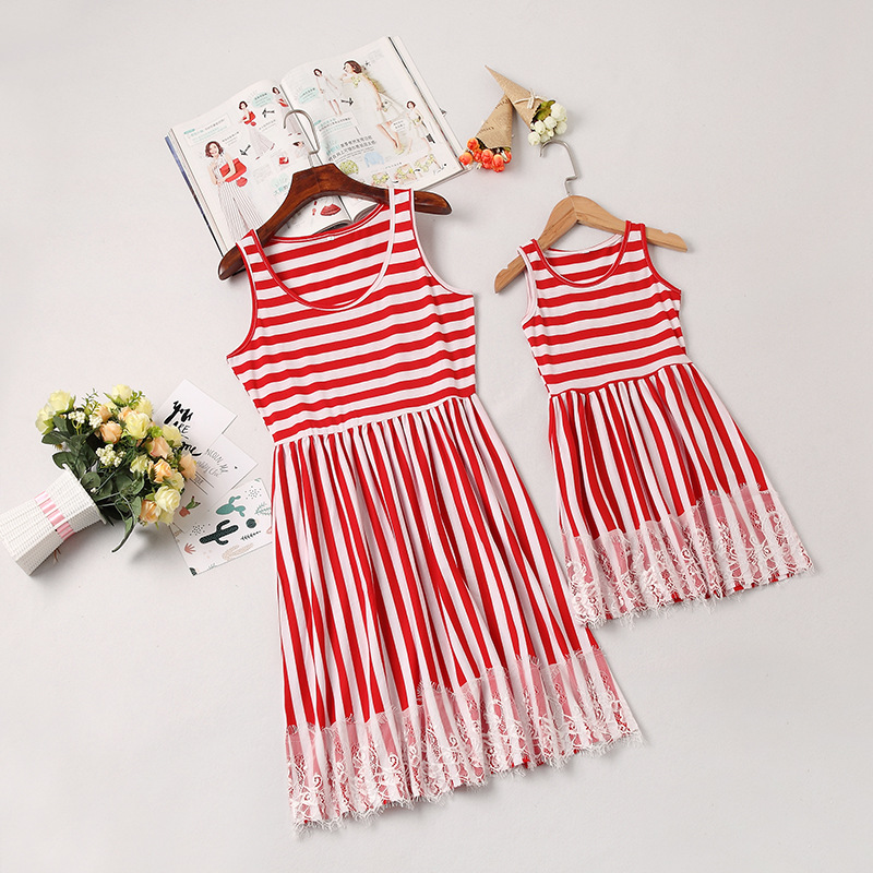 Mommy and Me Red Stripes Family Matching Vest Dresses