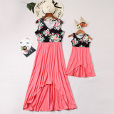 Mommy and Me Flowers Family Matching Irregularity Maxi Dresses