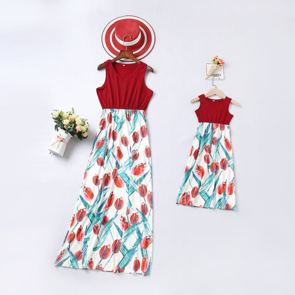 Mommy and Me Tulip Flowers Family Matching Maxi Dresses