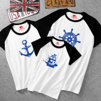 Matching Family Team Prints T-shirts Kids Sailboat Mom Anchor Dad Captain Rudder T-shirt