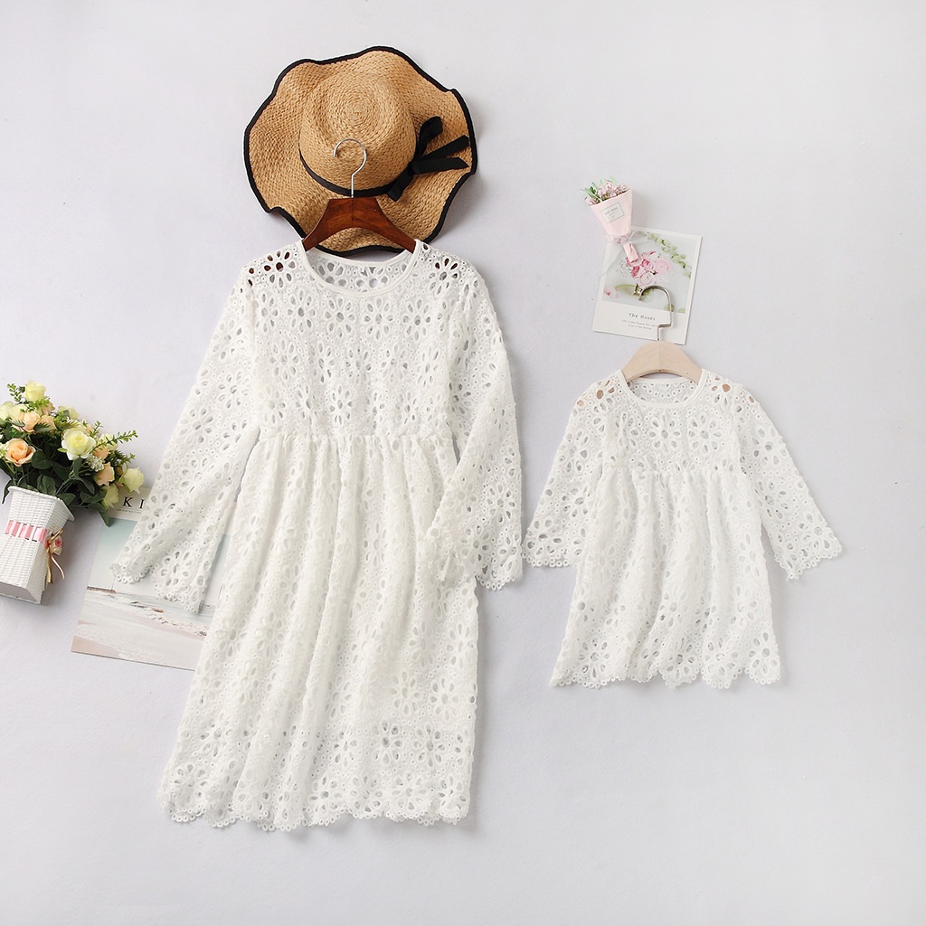 Mommy and Me White Hollow Out Crocheting Family Matching Dresses