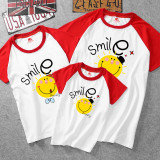 Matching Color Family Prints Smile Face T-shirts