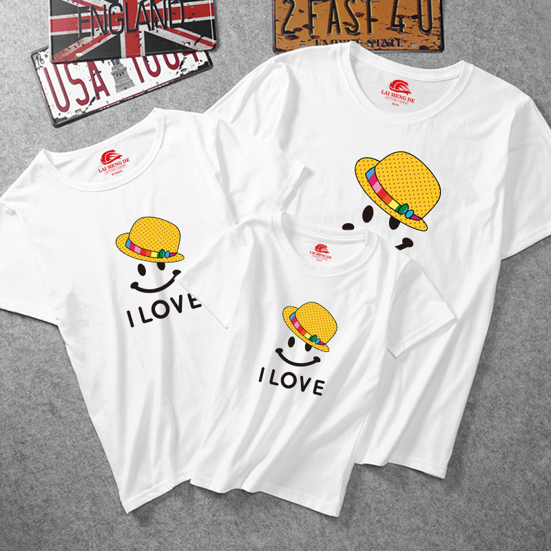 Matching Family Prints I Love Smile Face T-shirts