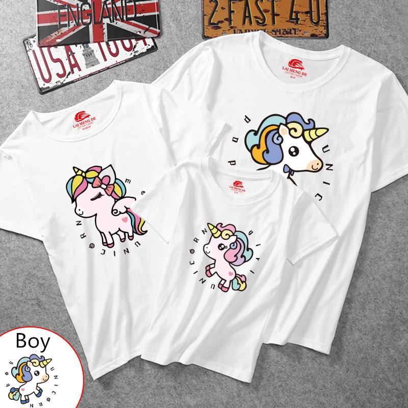 Matching Family Prints Cute Unicon T-shirts
