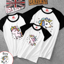 Matching Color Family Prints Cute Unicon T-shirts
