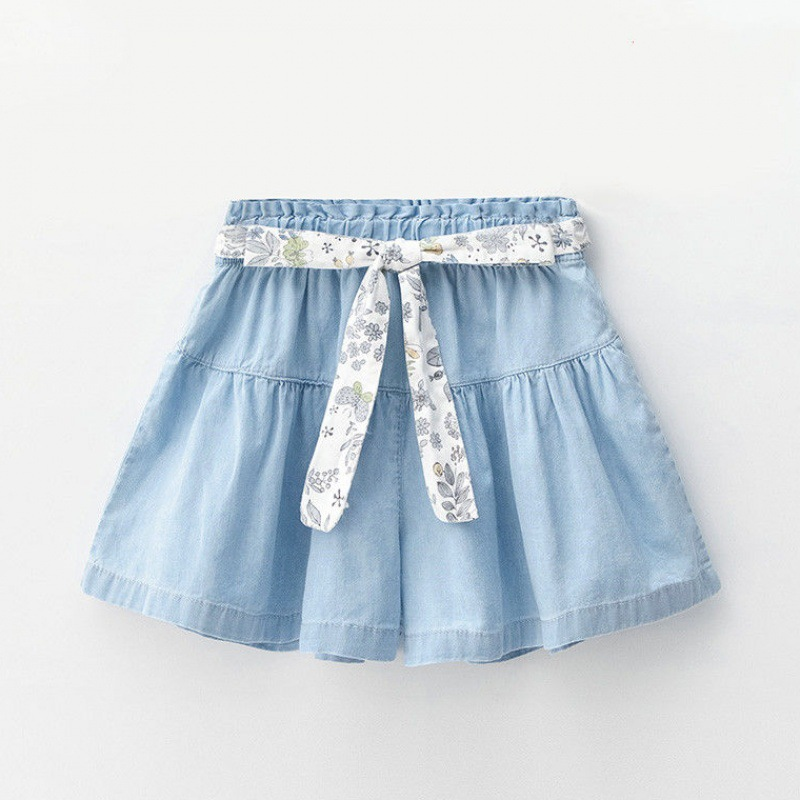 Kid Girl Flowers Bowknot Blue Denim Short