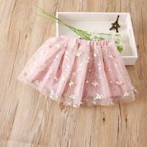 Kid Girl Embroidered Flowers Tutu Skirt