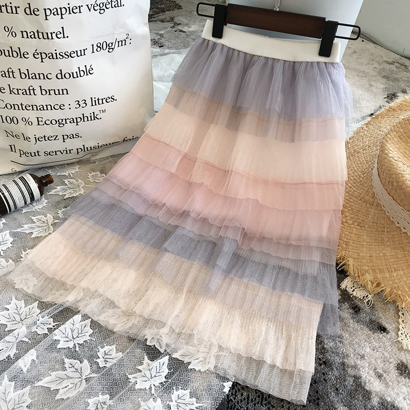 Kid Girl Ombre Pink Grey Matching Color Tutu Maxi Skirt