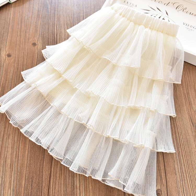 Kid Girl Cream 4 Layered Tutu Skirt