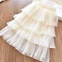 Kid Girl Cream 4 Layered Tutu Skirt
