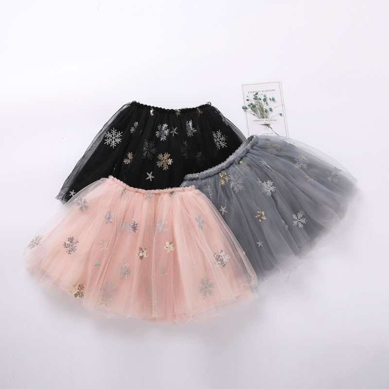 Kid Girl Snowflake Sequins Tutu Skirt
