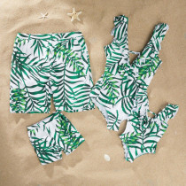 Family Matching Swimwear Print Green Leaves Ruffles Swimsuit and Truck Shorts