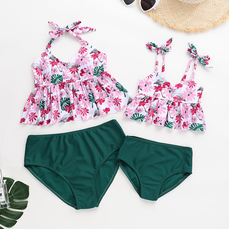 Mommy and Me Print Pink Flowers Family Matching Fold Bikini