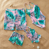 Family Matching Swimwear Print Green Leaves Swimsuit and Truck Shorts