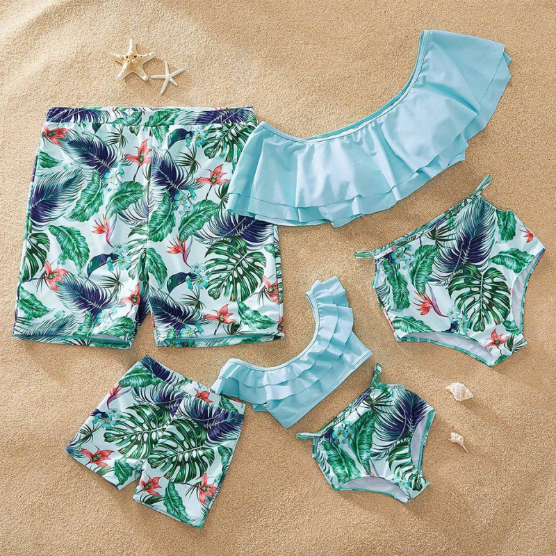 Family Matching Swimwear Green Leaves Bikini Swimsuit and Truck Shorts