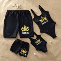 Family Matching Swimwear Gold Slogan Black Swimsuit and Truck Shorts