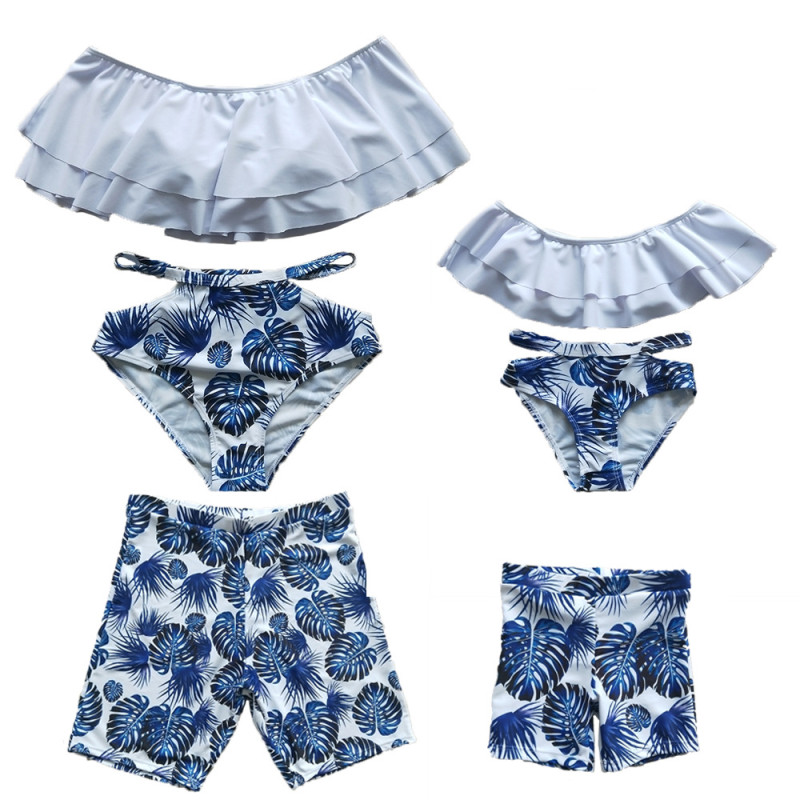 Family Matching Swimwear Print Blue Leaves Bikini Set and Truck Shorts