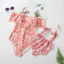 Mommy and Me Off The Shoulder Print Leaves Family Matching Pink Swimsuit