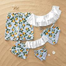 Family Matching Swimwear Blue Stripes Print Yellow Lemons Cut Out Bikini Set and Truck Shorts