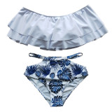 Family Matching Swimwear Print Blue Leaves Bikini Set and Truck Shorts