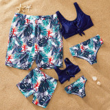 Family Matching Swimwear Navy Leaves Bikini Swimsuit and Truck Shorts