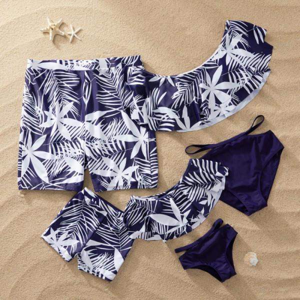 Family Matching Swimwear Print Leaves Bikini Swimsuit and Truck Shorts