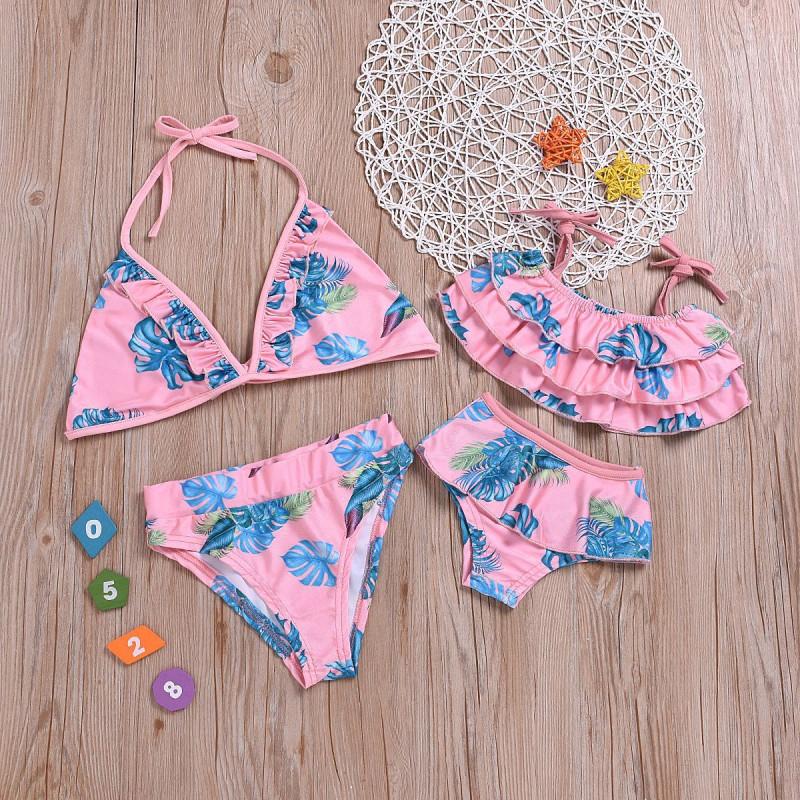 Mommy and Me Print Leaves Family Matching Pink Bikini Swimwear