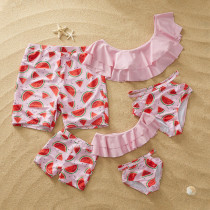Family Matching Swimwear Print Watermelon Cut Out Bikini Set and Truck Shorts