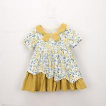 Kid Girl Yellow Flowers Irregular Dress