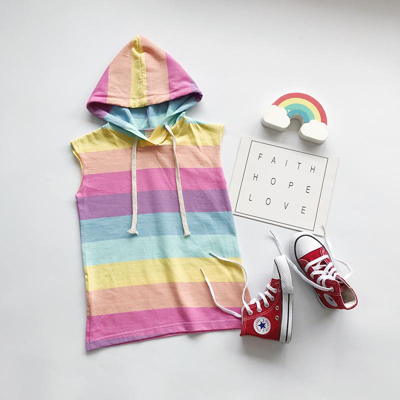 Kid Girl Rainbow Stripes Sleeveless Hooded T-shirt Dress