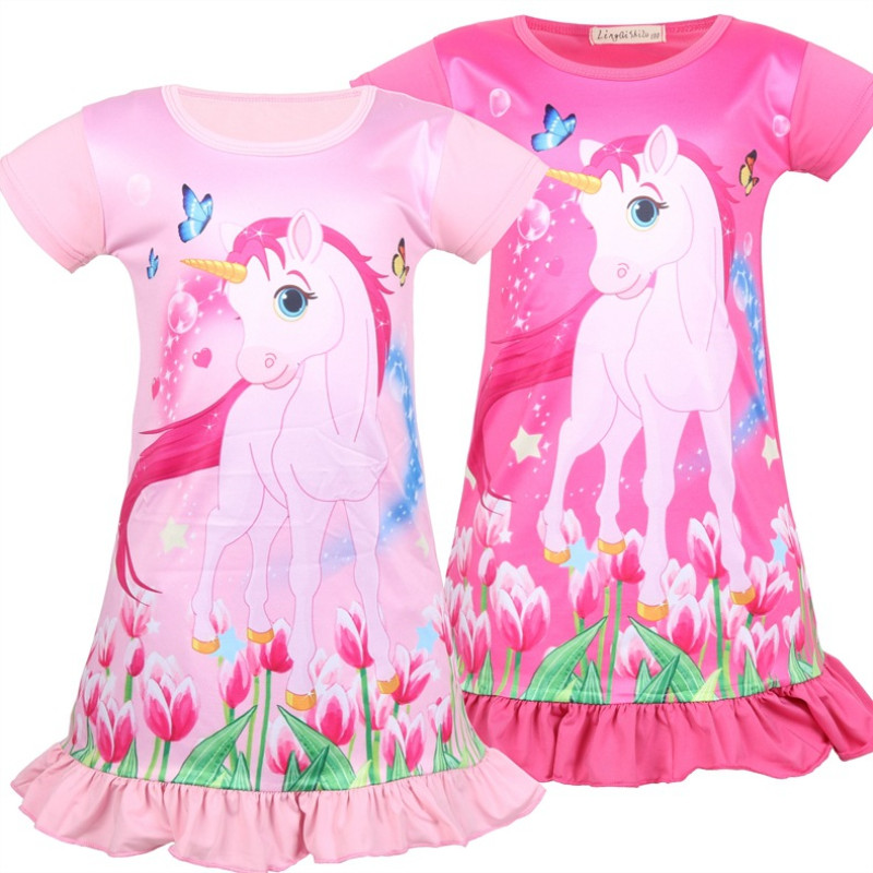 Kid Girl Print Unicon Flowers Ruffles Sleepwear Dresses