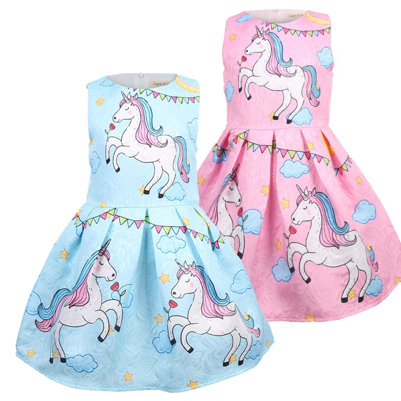 Kid Girl Print Unicons A-line Dresses