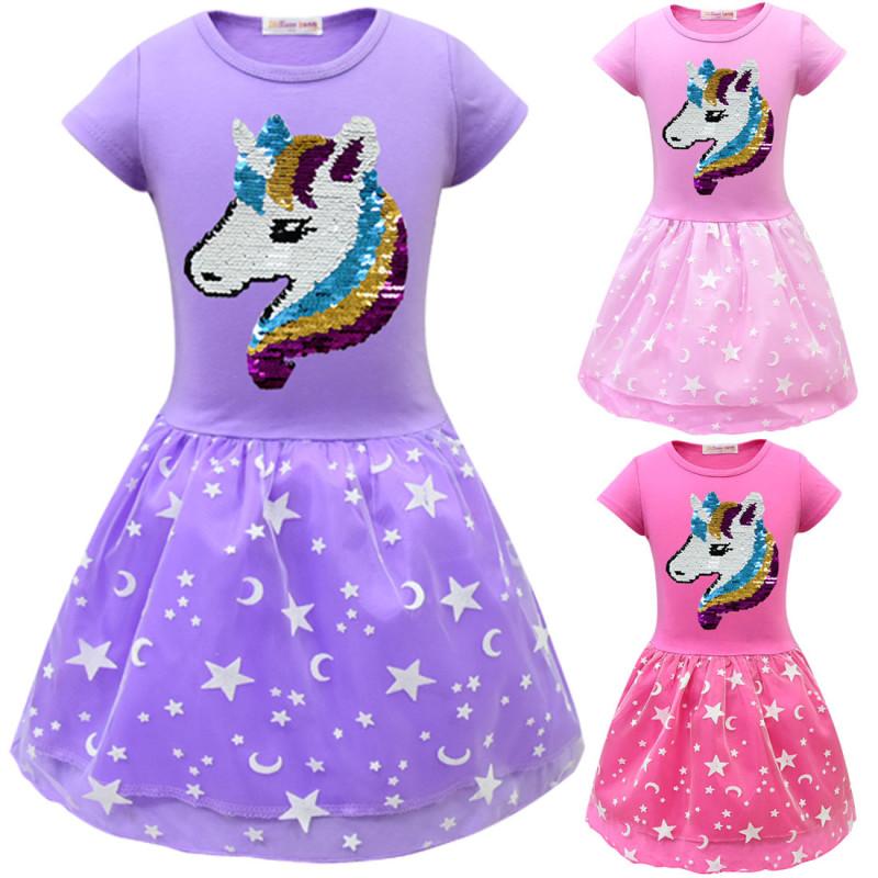 Kid Girl Sequins Unicon Stars Tutu A-line Dresses