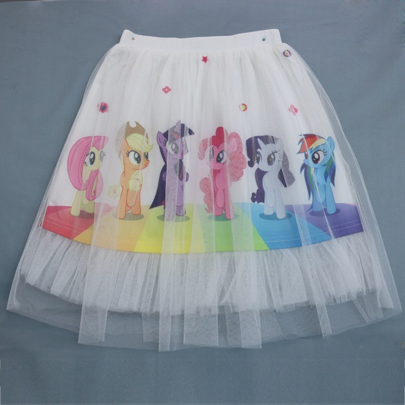 Kid Girl Print Rainbow Ponys Tutu Skirts