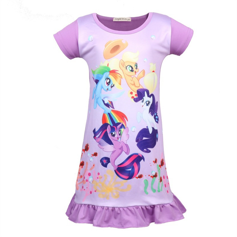 Kid Girl Print Rainbow Unicons Ruffles Sleepwear Dresses